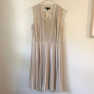 Size 4 Ivory Banana Republic Pleated Dress